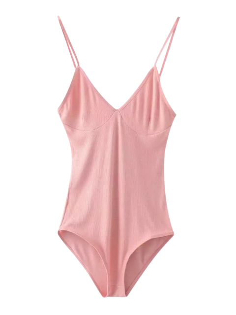 women Cami Plunging Neck Bodysuit - PINK ONE SIZE Mobile