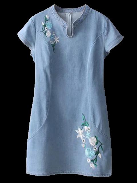 ladies Cheongsam Embroidered Floral Denim Dress - LIGHT BLUE M Mobile