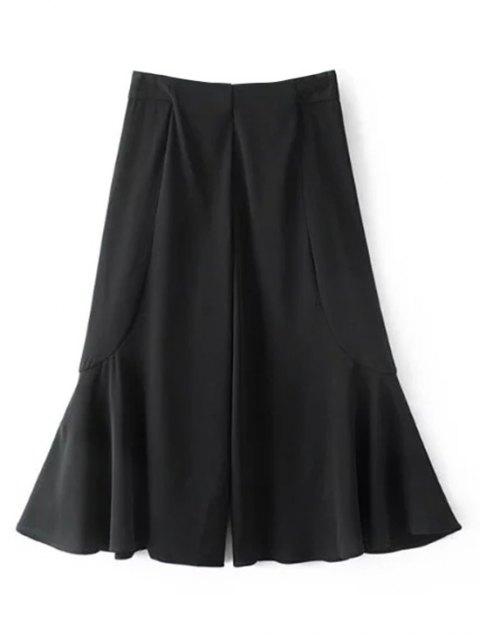 sale Ruffle Wide Leg Capri Pants - BLACK L Mobile