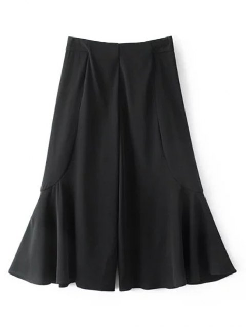 affordable Ruffle Wide Leg Capri Pants - BLACK M Mobile