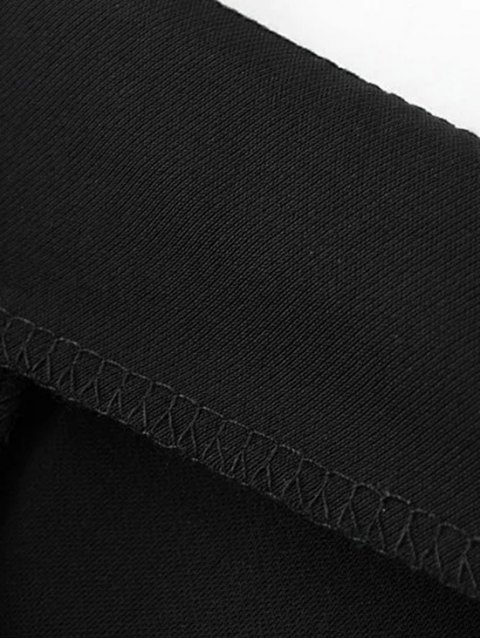 buy Ruffle Wide Leg Capri Pants - BLACK S Mobile