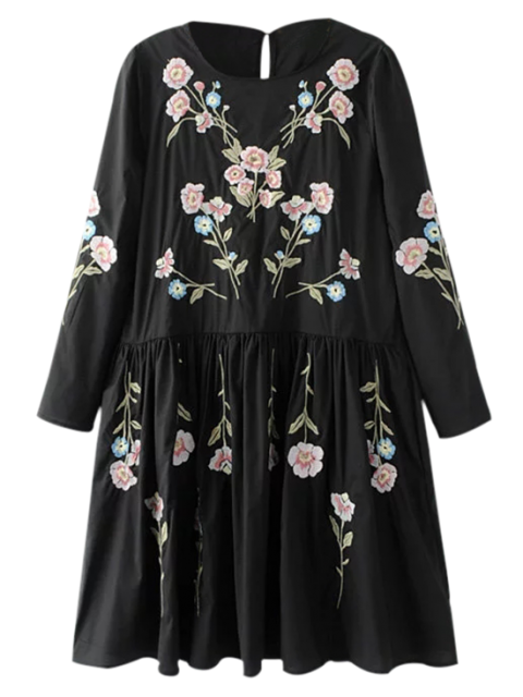 shops Floral Flowing Tunic Dress and Tank Top - BLACK S Mobile