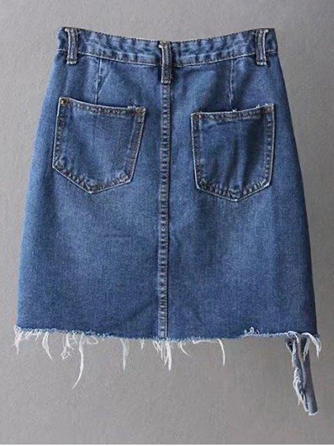 women's Asymmetric Frayed Hem Distressed Denim Skirt - DEEP BLUE S Mobile
