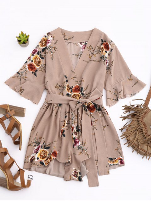 fashion Floral Plunging Neck Surplice Romper - KHAKI S Mobile