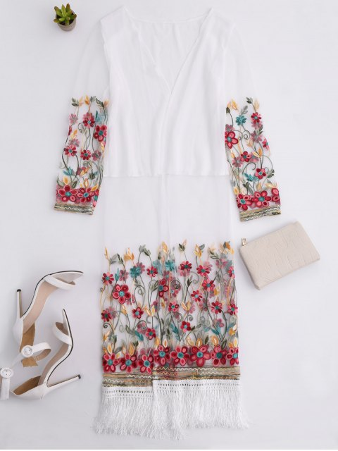 affordable Embroidered Tassel Open Front Long Duster Coat - WHITE ONE SIZE Mobile