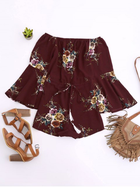 latest Off Shoulder Drawstring Waist Floral Romper - WINE RED M Mobile