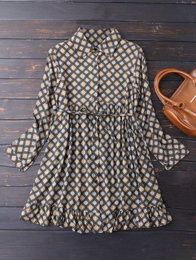 Button Up Argyle Tunic Shirt Dress - Cadetblue S