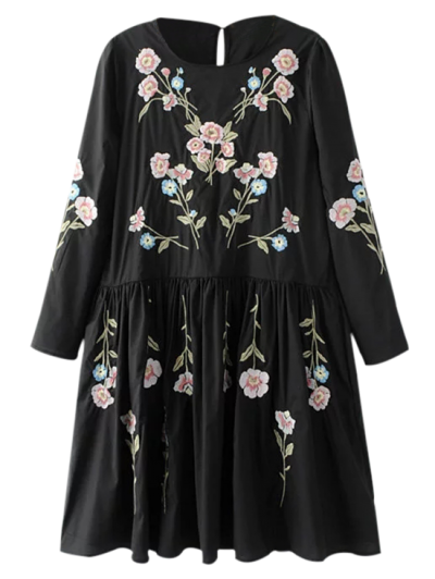 Floral Flowing Tunic Dress And Tank Top - Black