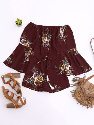 Off Shoulder Drawstring Waist Floral Romper - Wine Red