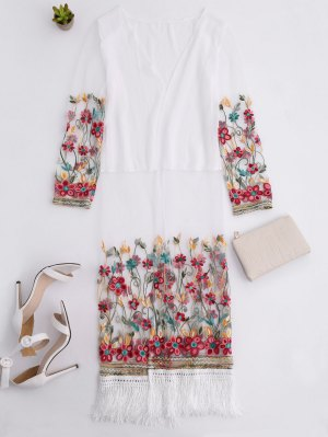 Embroidered Tassel Open Front Long Duster Coat - White
