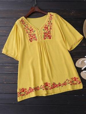 Bordado Floral De La Blusa De Oscilación - Amarillo