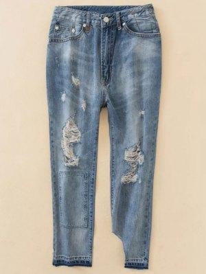 Distressed Boyfriend Jeans - Blue
