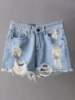 Ripped Denim Cutoffs Shorts - Light Blue