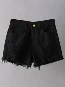 Fishnet Insert Ripped Denim Cutoff Shorts - Black S