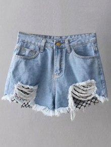 Fishnet Insert Ripped Denim Cutoff Shorts - Blue