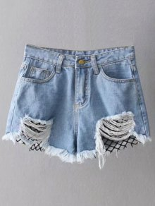 Fishnet Insert Ripped Denim Cutoff Shorts - Blue