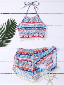 Tassel Halter Printed Bathing Suit