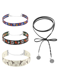 Embroidery Flower Eiffel Tower Choker Necklace Set - Multicolor