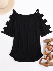 Ruched Cut Out T-Shirt - Black M