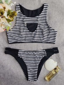 Round Neck Striped Cut Out Bikini Set