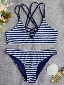 Cross Back Striped Strappy Bikini Set