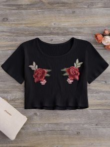 Floral Patches Ribbed Crop Top - Black