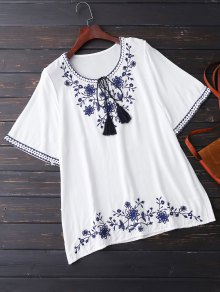 Embroidered Half Sleeve Blouse