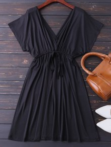 Plunge V Back Drawstring Dress - Black Xl