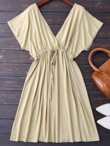 Plunge V Back Drawstring Dress