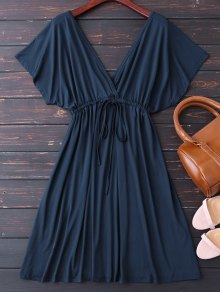 Plunge V Back Drawstring Dress - Purplish Blue
