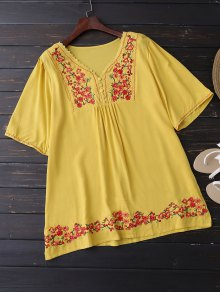 Floral Embroidered Swing Blouse