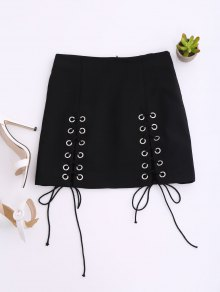 Punk Lace Up Mini Skirt - Black