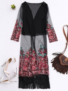 Embroidered Open Front Long Duster Coat