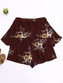 Rose Flounced Romper - Wine Red L
