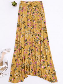 Front Slit Tiny Floral Maxi Skirt - Yellow