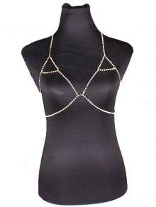 سلسلة Rhinestoned المثلث البرازيلي الجسم - ذهبي