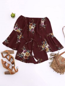 Off Shoulder Drawstring Waist Floral Romper