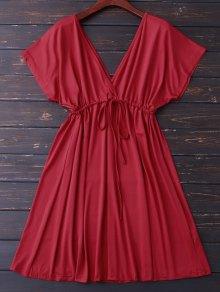Plunge V Back Drawstring Dress - Red Xl