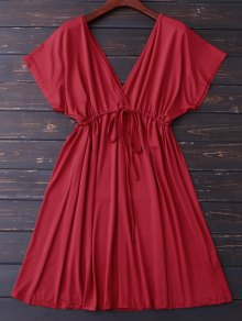 Volver sumergirse V vestido con cordón