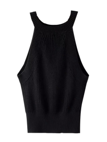 Armhole Knitted Top - Black S