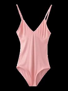Cami Plunging Neck Bodysuit - Pink
