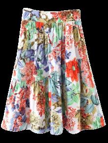 Flower A-Line Knee Length Skirt - Red
