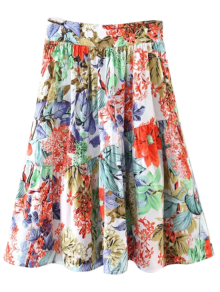Flower A-Line Knee Length Skirt