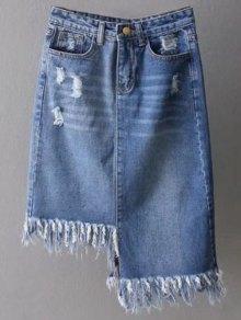 Asymmetrical Frayed Denim Pencil Skirt