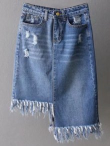 Asymmetrical Frayed Denim Pencil Skirt
