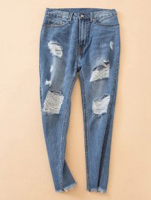 Distressed Frayed Hem Tapered Jeans - Denim Blue