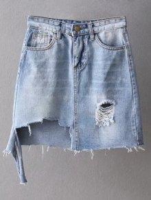 Asymmetric Frayed Hem Distressed Denim Skirt - Light Blue