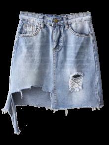 Asymmetric Frayed Hem Distressed Denim Skirt LIGHT BLUE: Skirts S ...