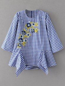 Floral Embroidered Gingham Blouse - Blue And White M