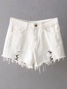 Fishnet Insert Ripped Denim Cutoff Shorts - White S